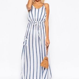 Asos Swim Maxi Cotton Pocket Dress Striped Blue